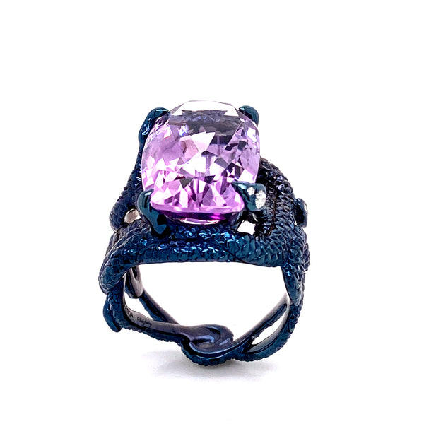 Ring Sterling Silver wirh Pink Amethyst and White Diamonds