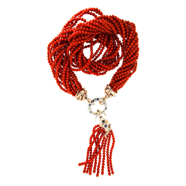 "Necklace ""Coral Tassle"" Pink Gold with Corals"