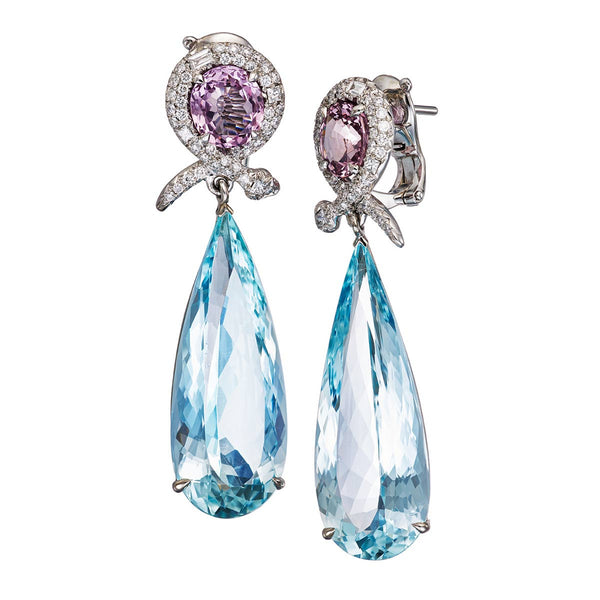 Earrings Pink Spinel & Aquamarines