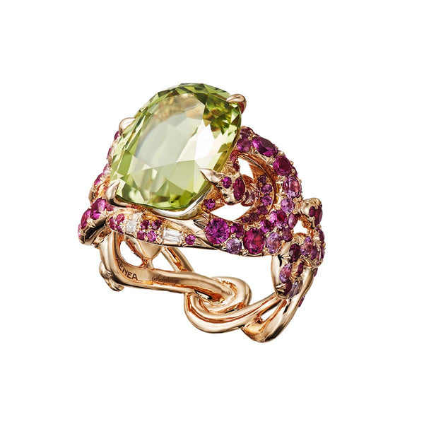 Ring 4 Snakes Chysoberyll and Pink Sapphires