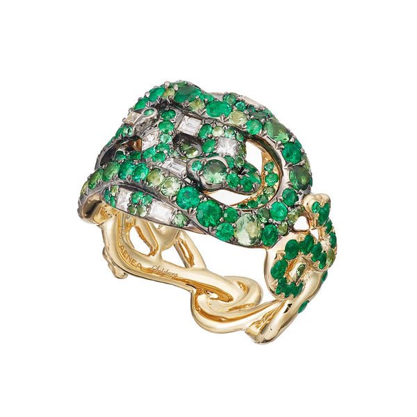 Ring Tsavorites, Emeralds and Diamonds