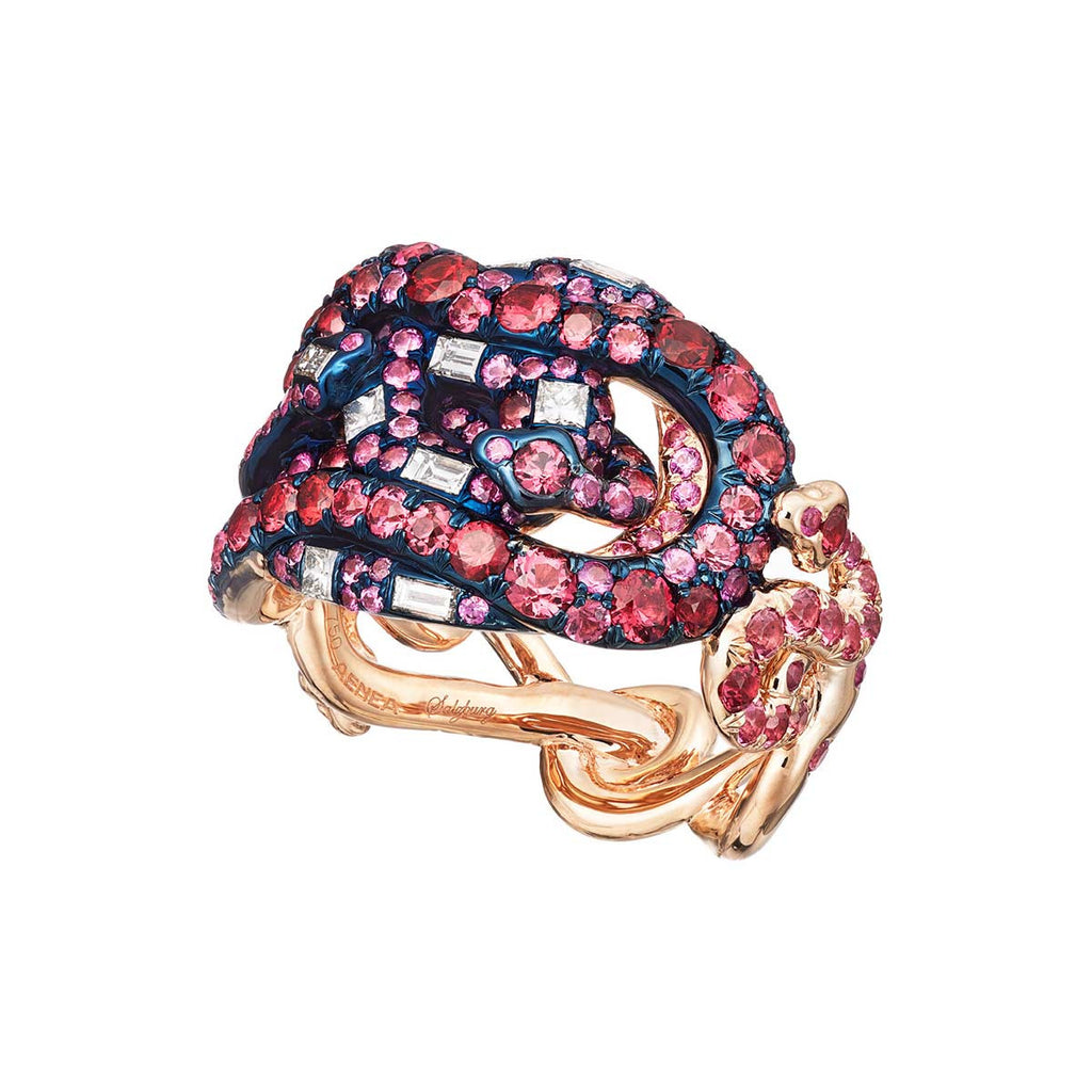 Ring 4 Snakes Red Spinel and Pink Sapphires