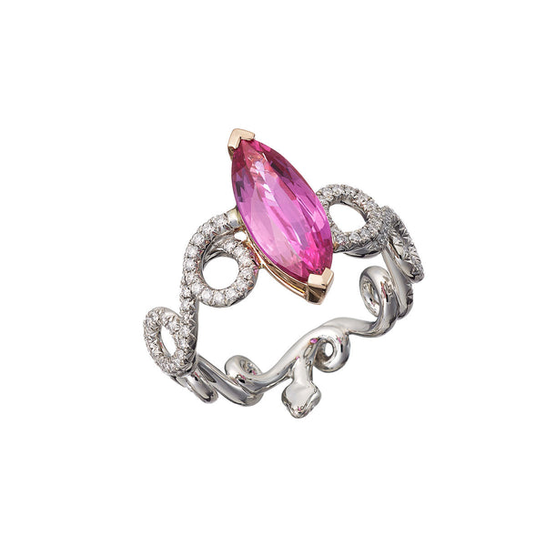 Ring Marquise Cut Pink Sapphire
