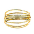 Bangle Yellow Gold and Rhodium-plated Sterling Silver with Yellow, Brown and White Diamonds