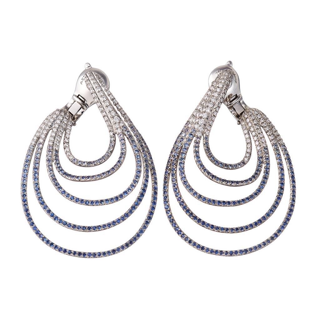 AENEA WAVE Collection Earrings Palladium with White Diamonds and Blue Sapphires