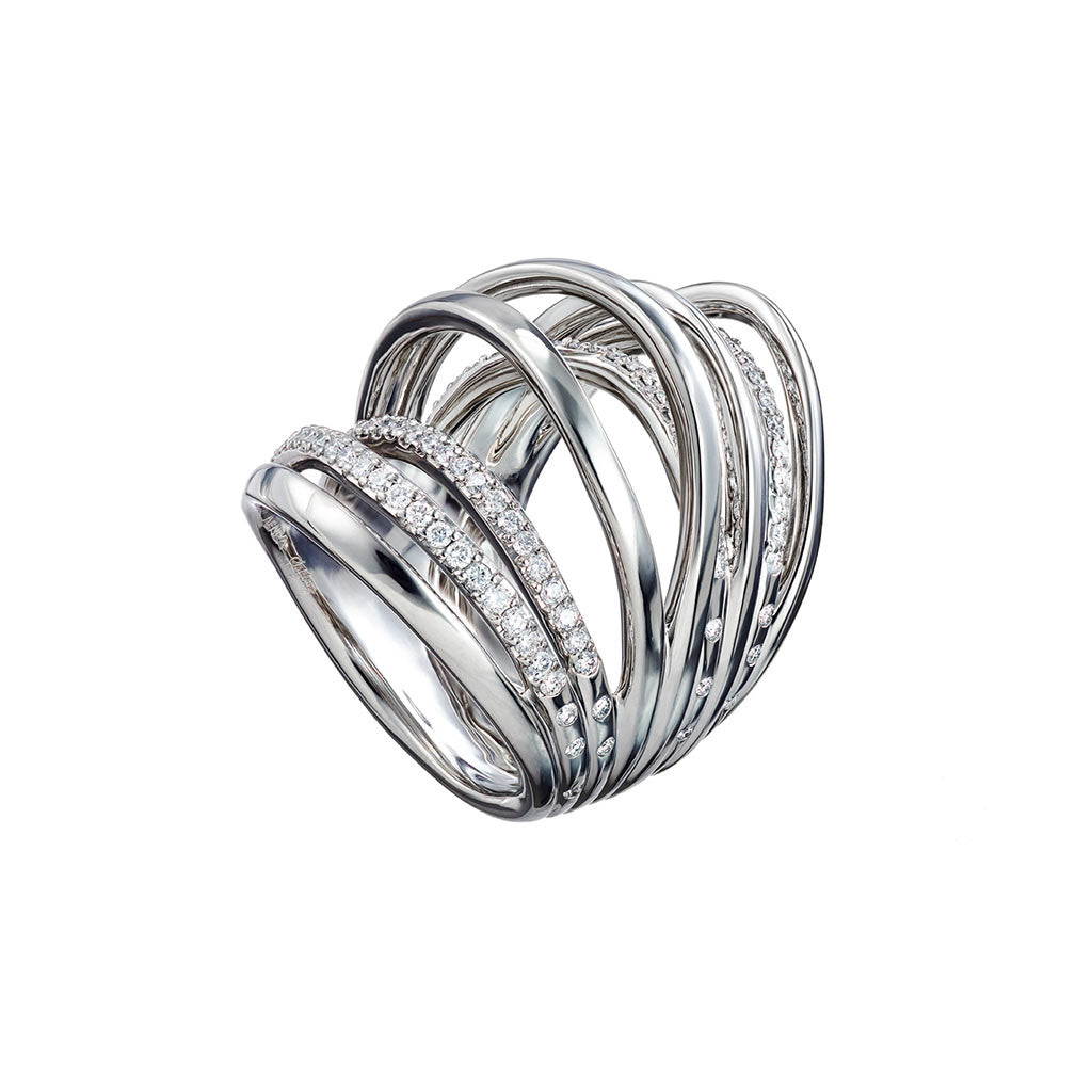 AENEA WAVE Collection Ring Palladium with White Diamonds