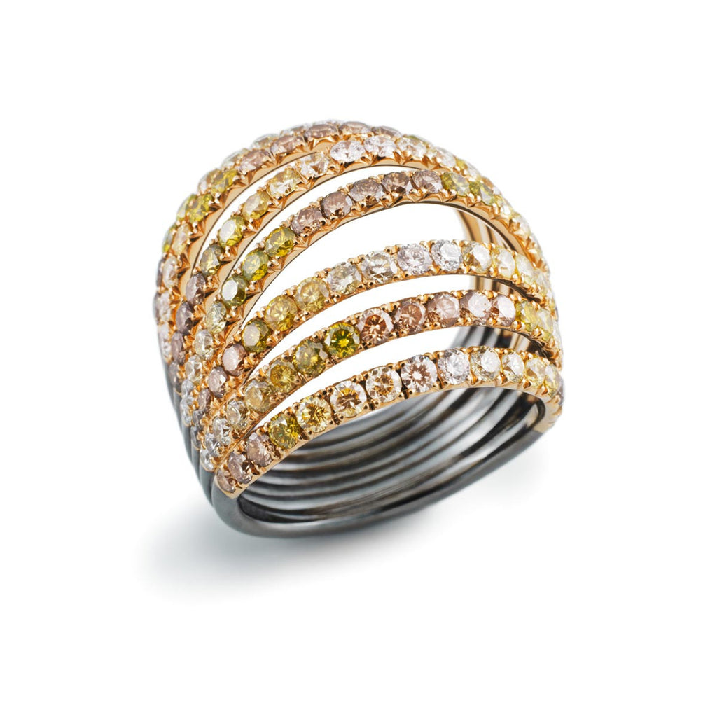 AENEA WAVE Collection Ring Yellow Gold with White, Brown and Yellow Diamonds