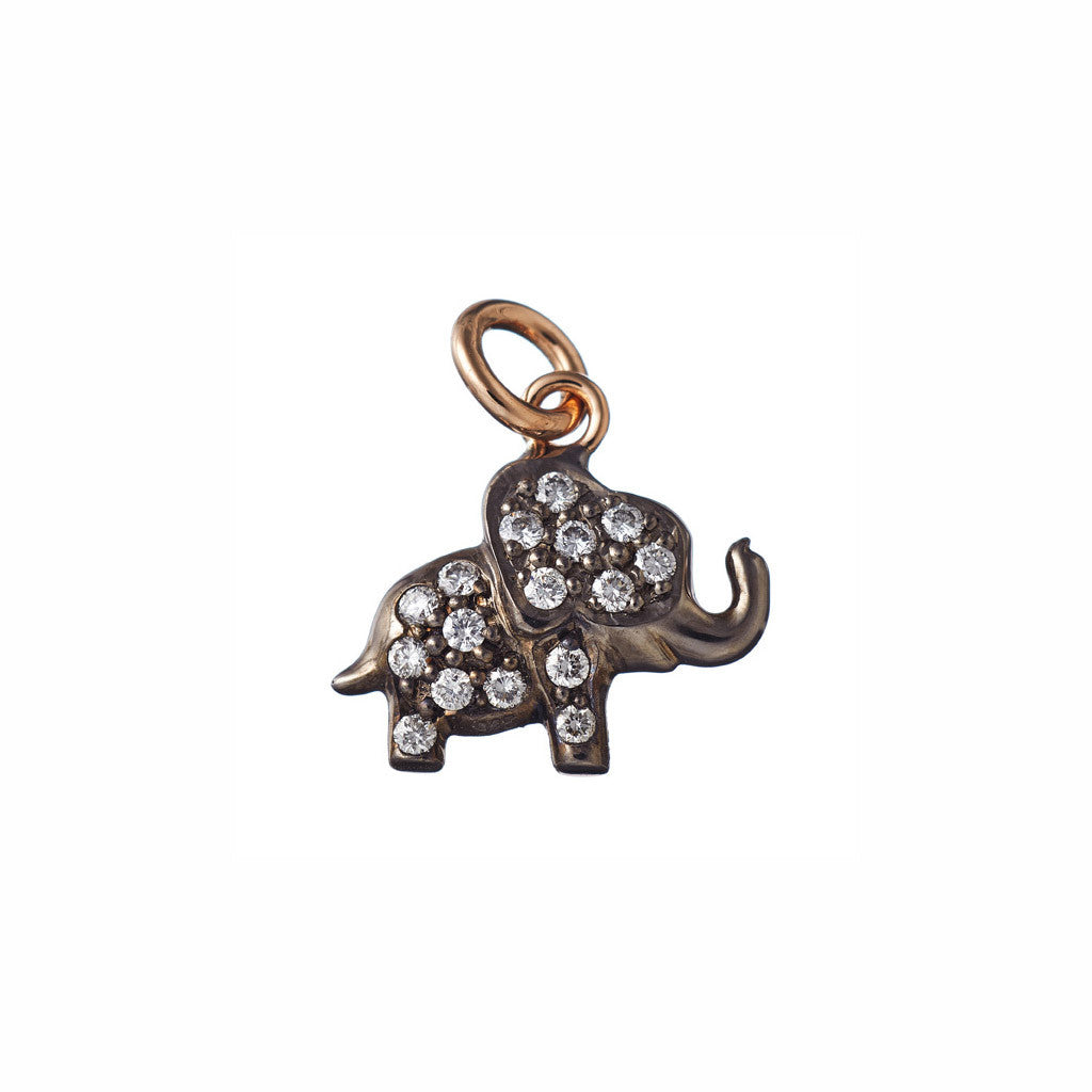 AENEA CHARM COLLECTION Pendant Elephant Rose Gold with White Diamonds BACKSIDE