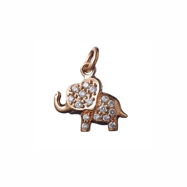 AENEA CHARM COLLECTION Pendant Elephant Rose Gold with White Diamonds