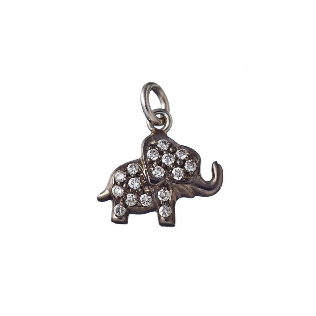 AENEA CHARM COLLECTION Pendant Elephant Platinum with White Diamonds BACKSIDE