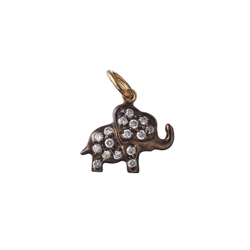 AENEA CHARM COLLECTION Pendant Elephant Yellow Gold with White Diamonds BACKSIDE