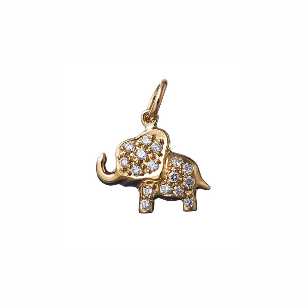 AENEA CHARM COLLECTION Pendant Elephant Yellow Gold with White Diamonds