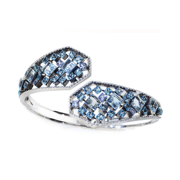 AENEA FLOW Collection Bangle Platinum with Aquamarines, Blue Topaz and White Diamonds