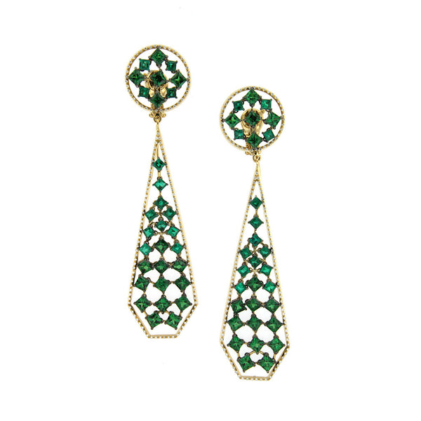Earrings Yellow Gold with Emeralds & Tsavorites and White Diamonds