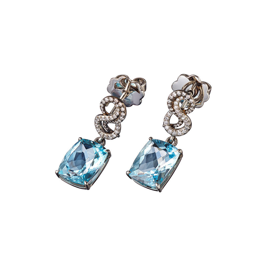 AENEA SARPA Collection Earrings Platinum with Aquamarines and White Diamonds