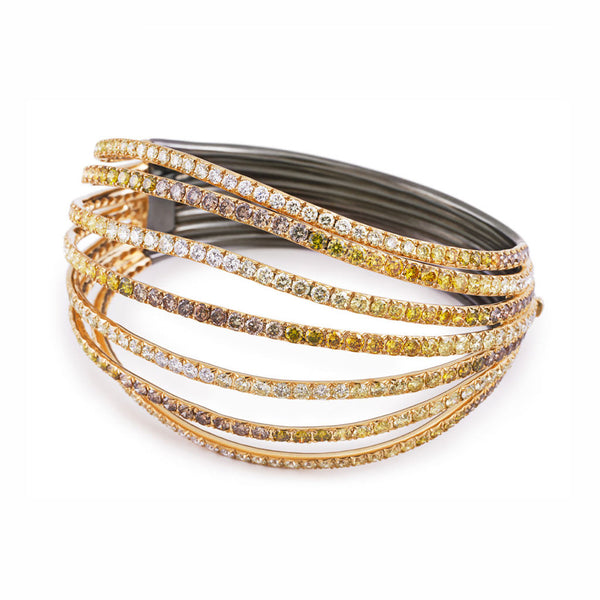 AENEA WAVE Collection Bangle Yellow Gold and Rhodium-plated Sterling Silver with Diamonds