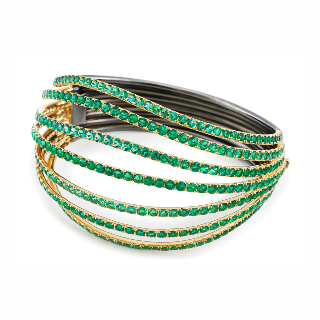 AENEA WAVE Collection Bangle Yellow Gold and Rhodium-plated Sterling Silver with Emeralds