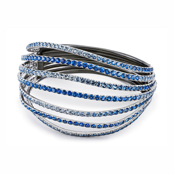 AENEA WAVE Collection Bangle White Gold and Rhodium-plated Sterling Silver with Blue Sapphires
