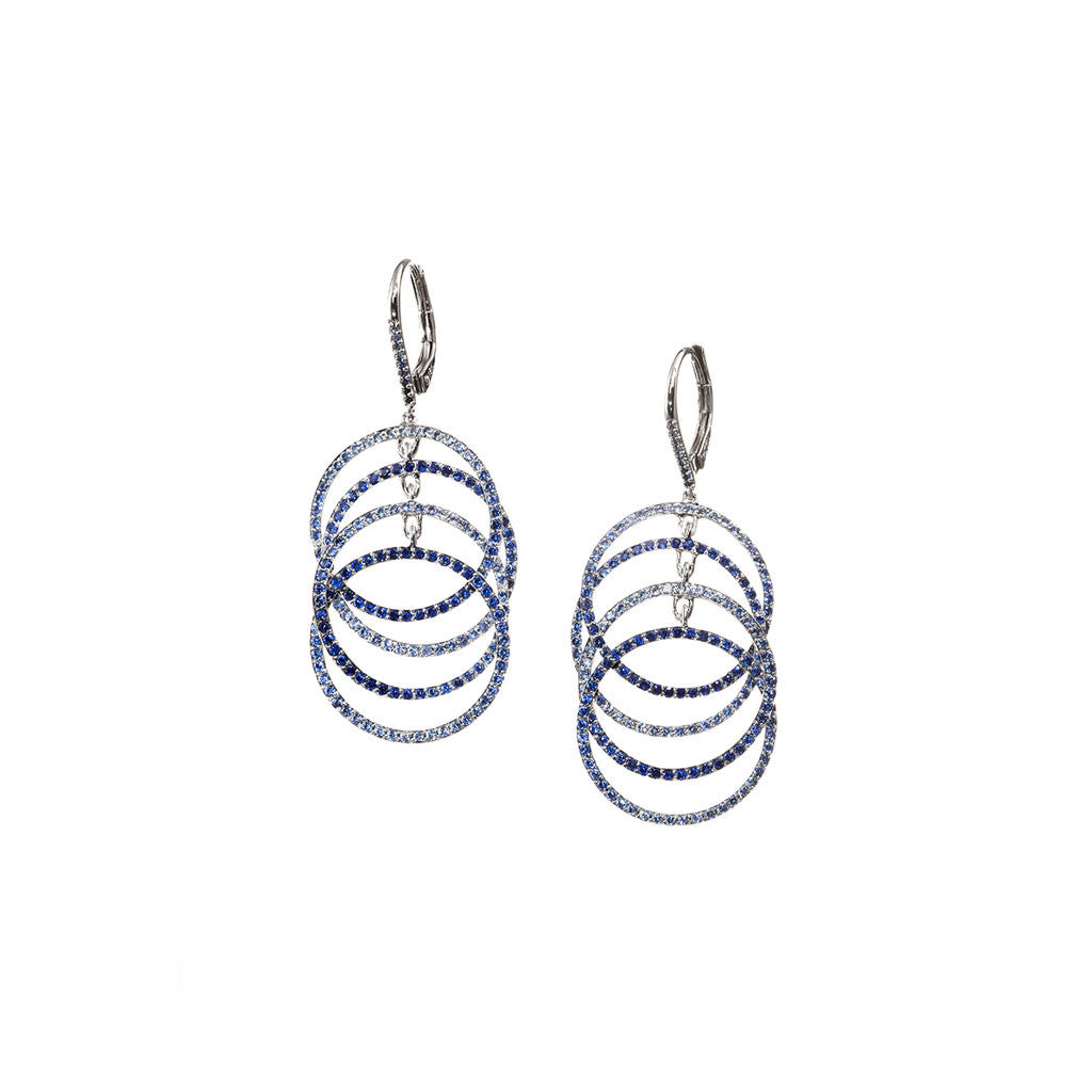 AENEA WAVE Collection Earrings White Gold with Blue Sapphires
