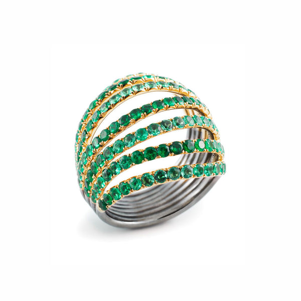 AENEA WAVE Collection Ring Yellow Gold and Sterling Silver with Emeralds
