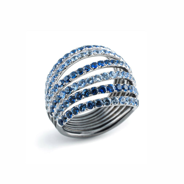 AENEA WAVE Collection Ring White Gold and Sterling Silver with Blue Sapphires