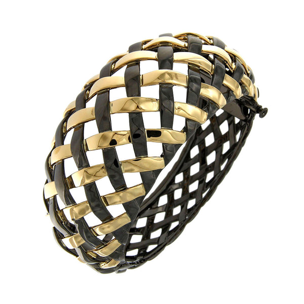 AENEA WEB Collection Bangle with Yellow Gold, Silver and Black Rhodium
