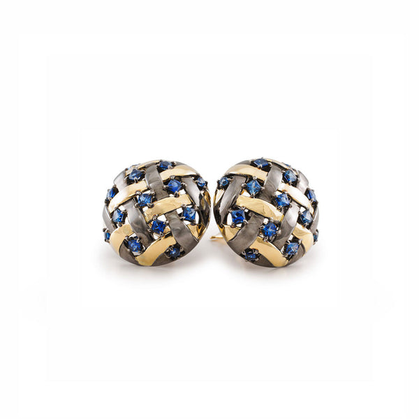 AENEA WEB Collection Earrings with Yellow Gold, Silver, Black Rhodium and Blue Sapphires