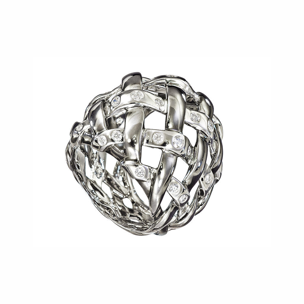 AENEA WEB Collection Ring Platinum and Rhodium-plated Sterling Silver with White Diamonds