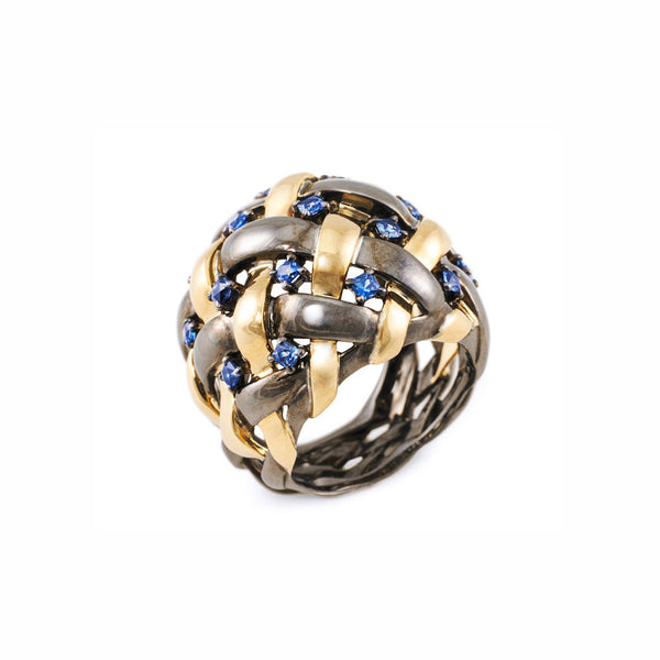 AENEA WEB Collection Ring Yellow Gold , Sterling Silver, Black Rhodium and Blue Sapphires
