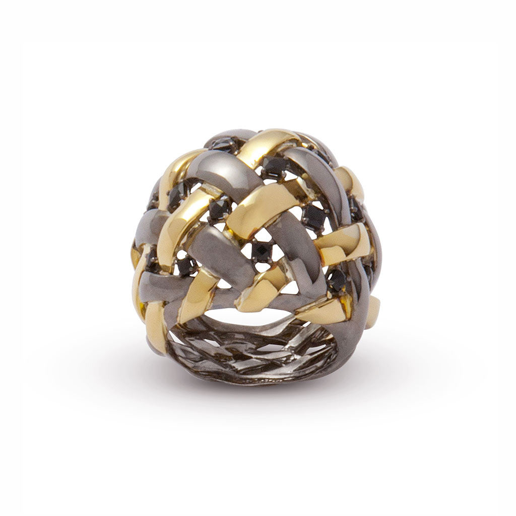 AENEA WEB Collection Ring Yellow Gold , Sterling Silver, Black Rhodium and Black Spinel