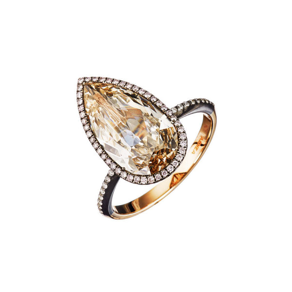 Ring Pink Gold with a Pink-Brown Diamond
