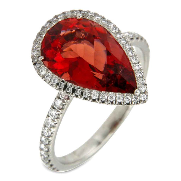 Ring Red Tourmaline pearshape