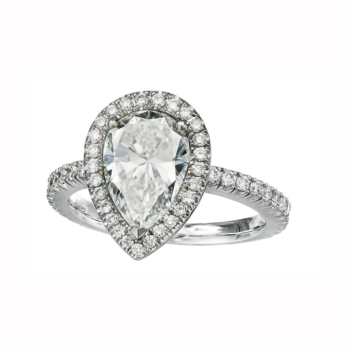 Ring Platinum with a 2,01ct. pearshape White Diamond