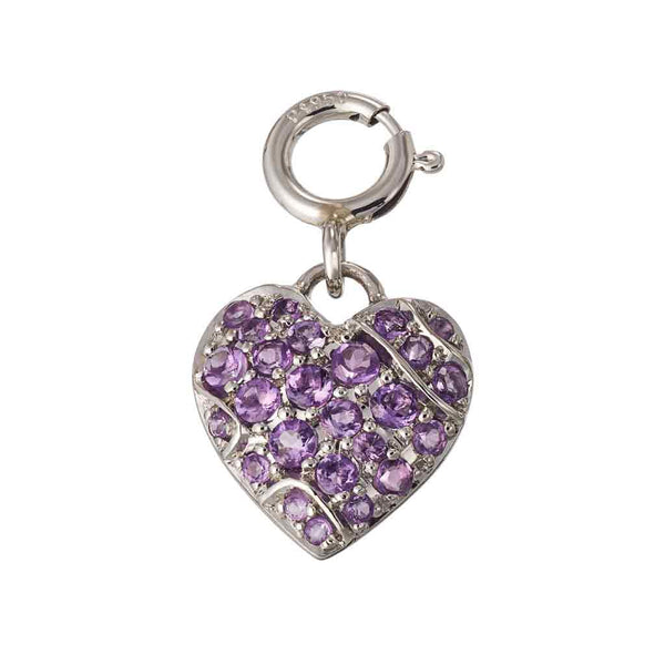 Charm Pendant Palladium with Amethysts