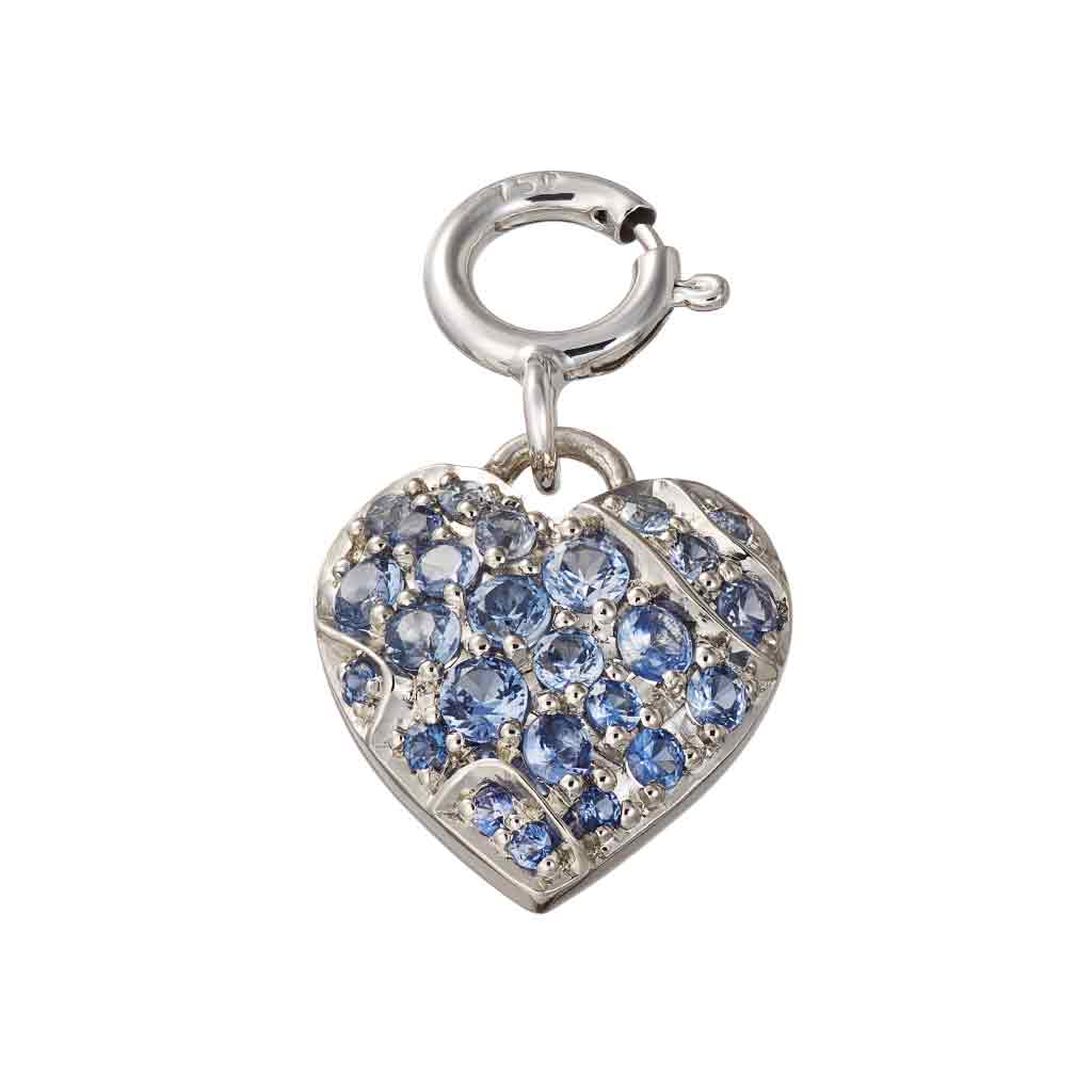 Charm Pendant Palladium with Blue Sapphires