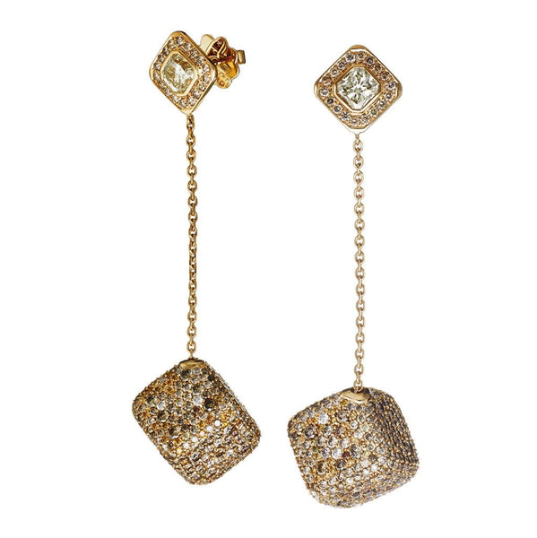 AENEA JEWELLERY Collection Earrings Yellow Gold with Champagne Diamonds