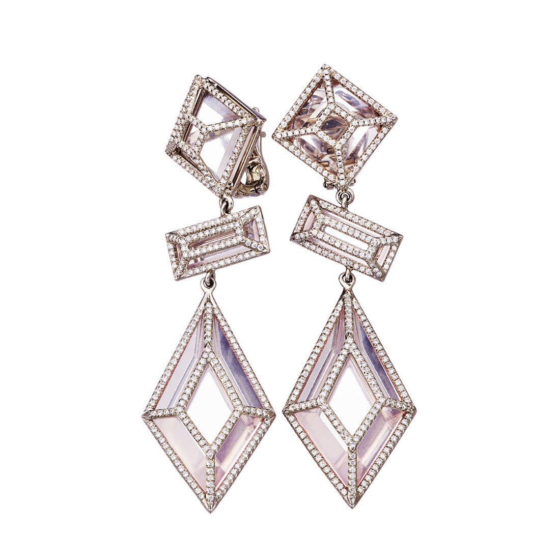 Earrings Palladium with White Diamonds and Rosequarz