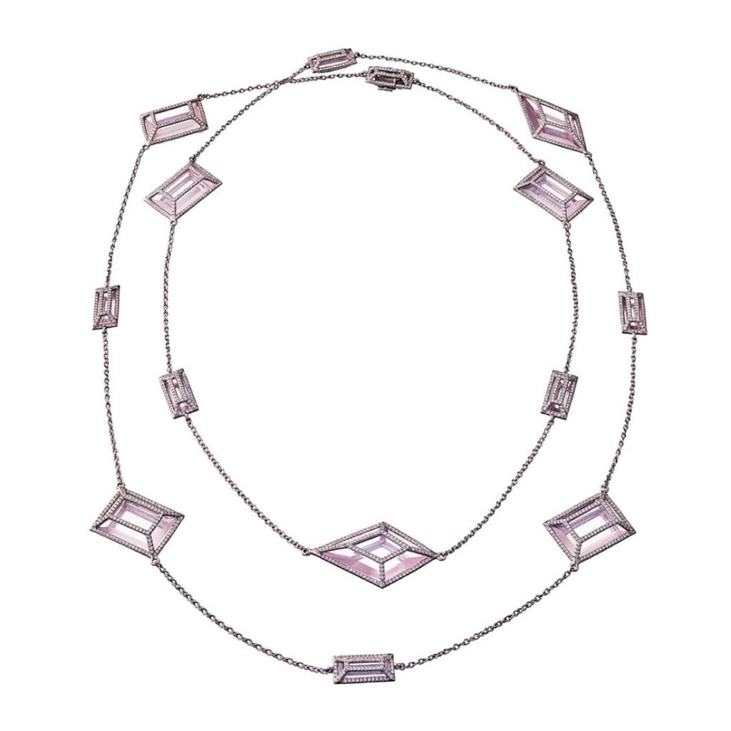 Necklace Diamonds & Rosequarz