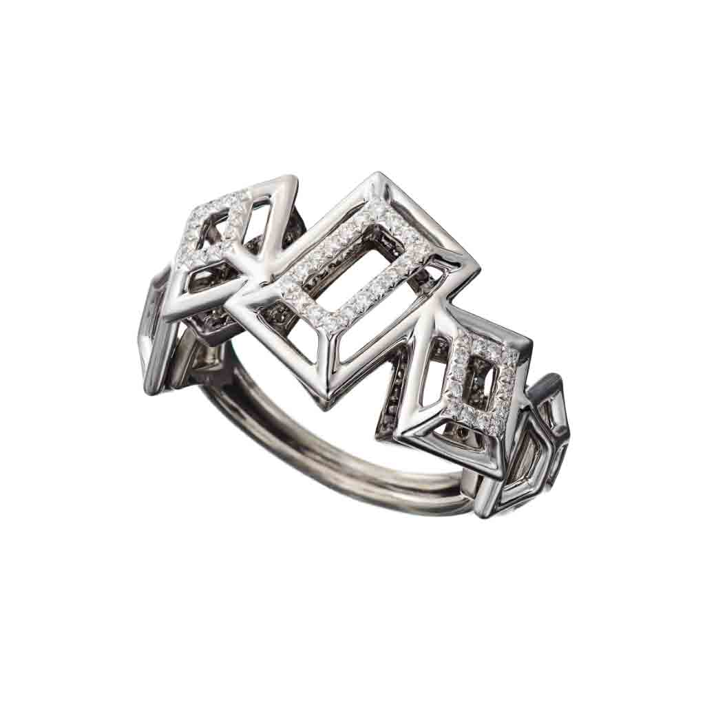 Ring White Gold with White and Black Diamonds