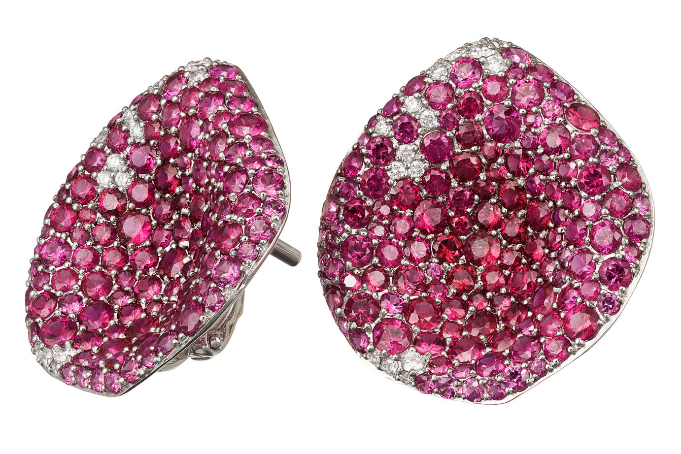 "Earrings ""Mariandl Rose"" White Gold with Rubies and White Diamonds"