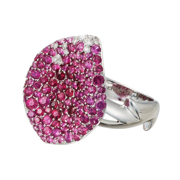 "Ring ""Mariandl Rose"" White Gold with Rubies and White Diamonds"