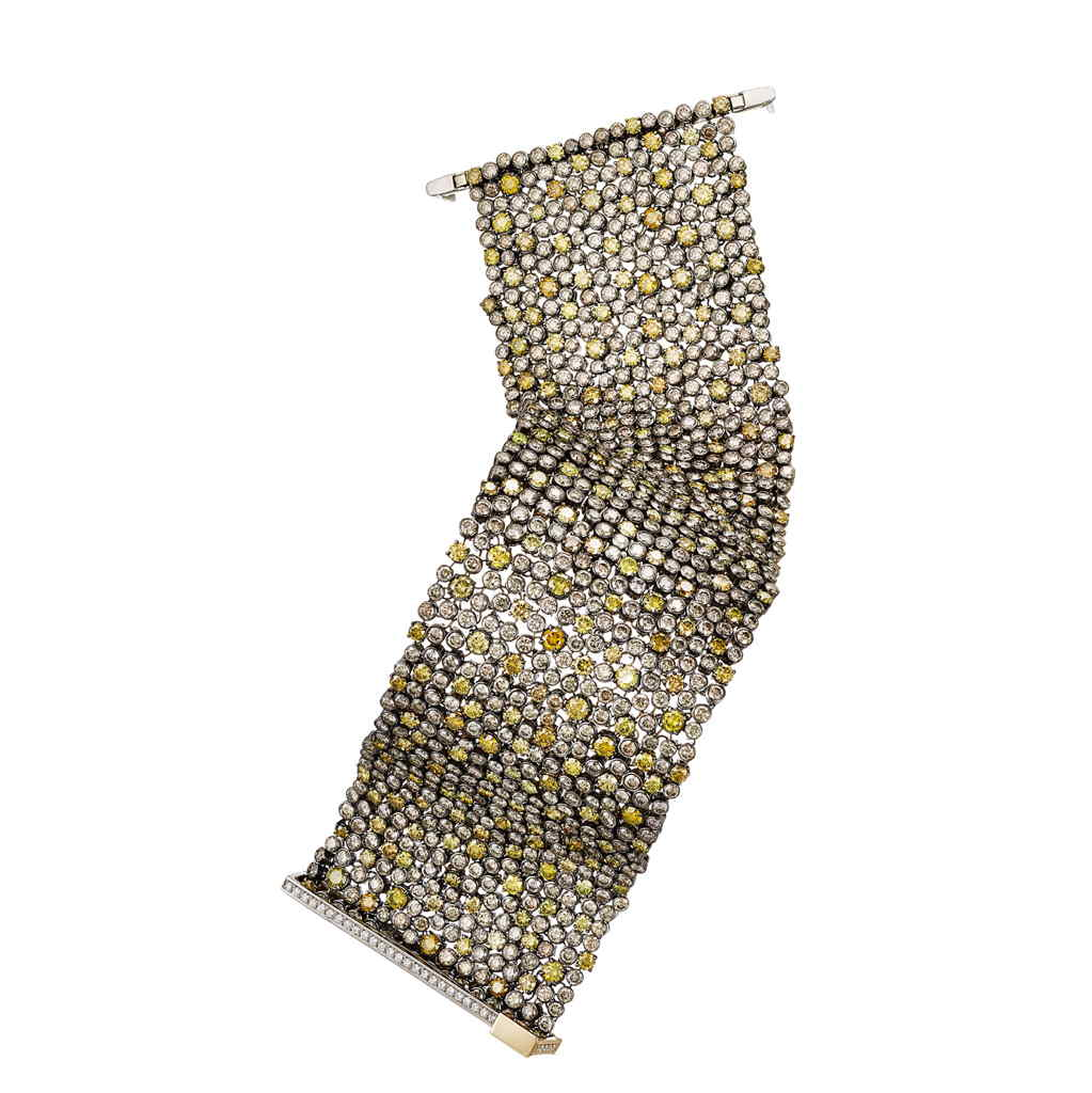 AENEA MESH Collection Bracelet Palladium with Yellow and Brown Diamonds