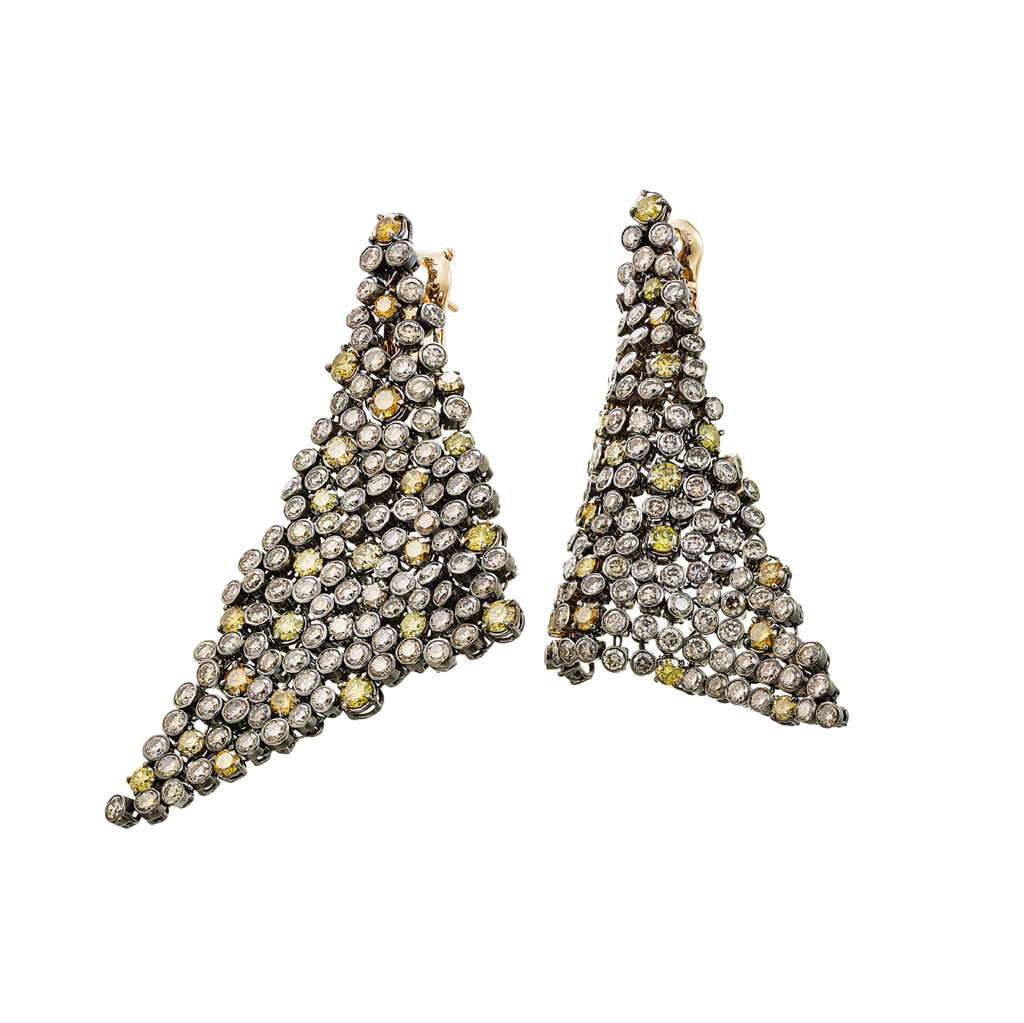 Earrings Palladium with Yellow and Brown Diamonds