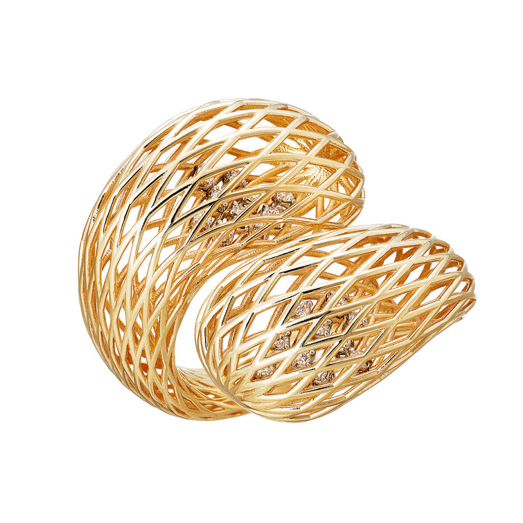 AENEA NEZZI Ring Yellow Gold White Diamonds