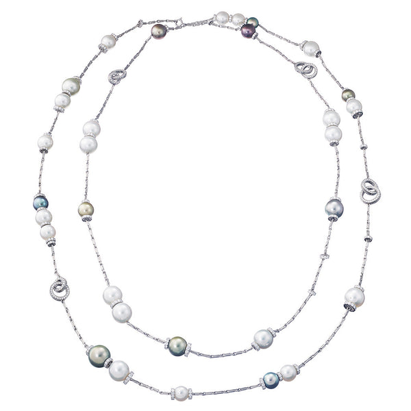 Necklace Akoia Pearls and White Diamonds