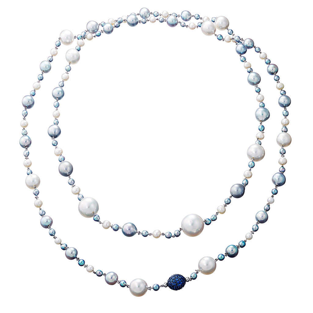 Necklace Natural Blue Pearls and Sapphires