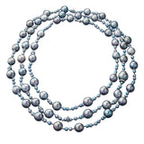 Necklace Blue and Grey Pearls with White Diamonds