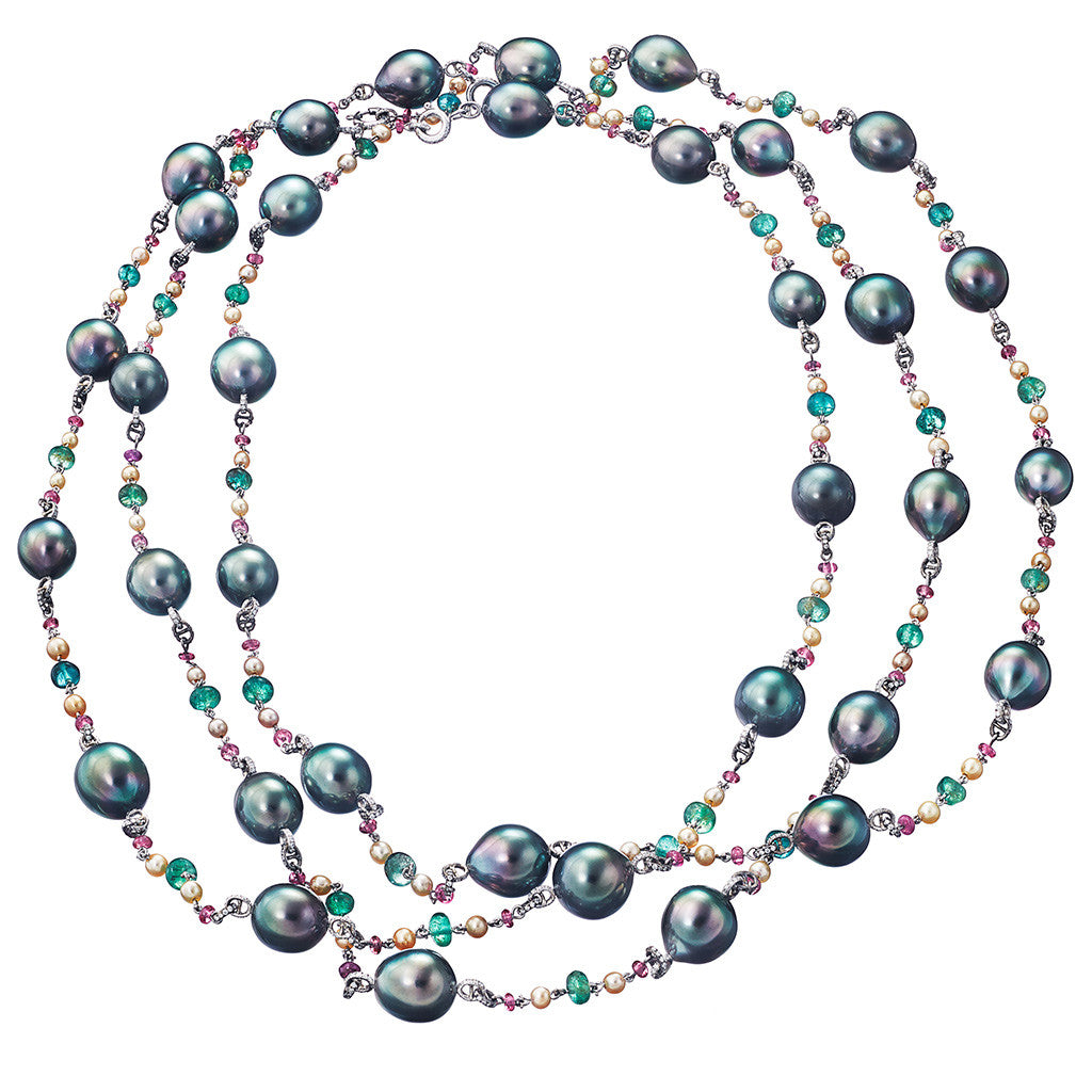 Necklace Grey Tahiti Pearls and Fancy Stones