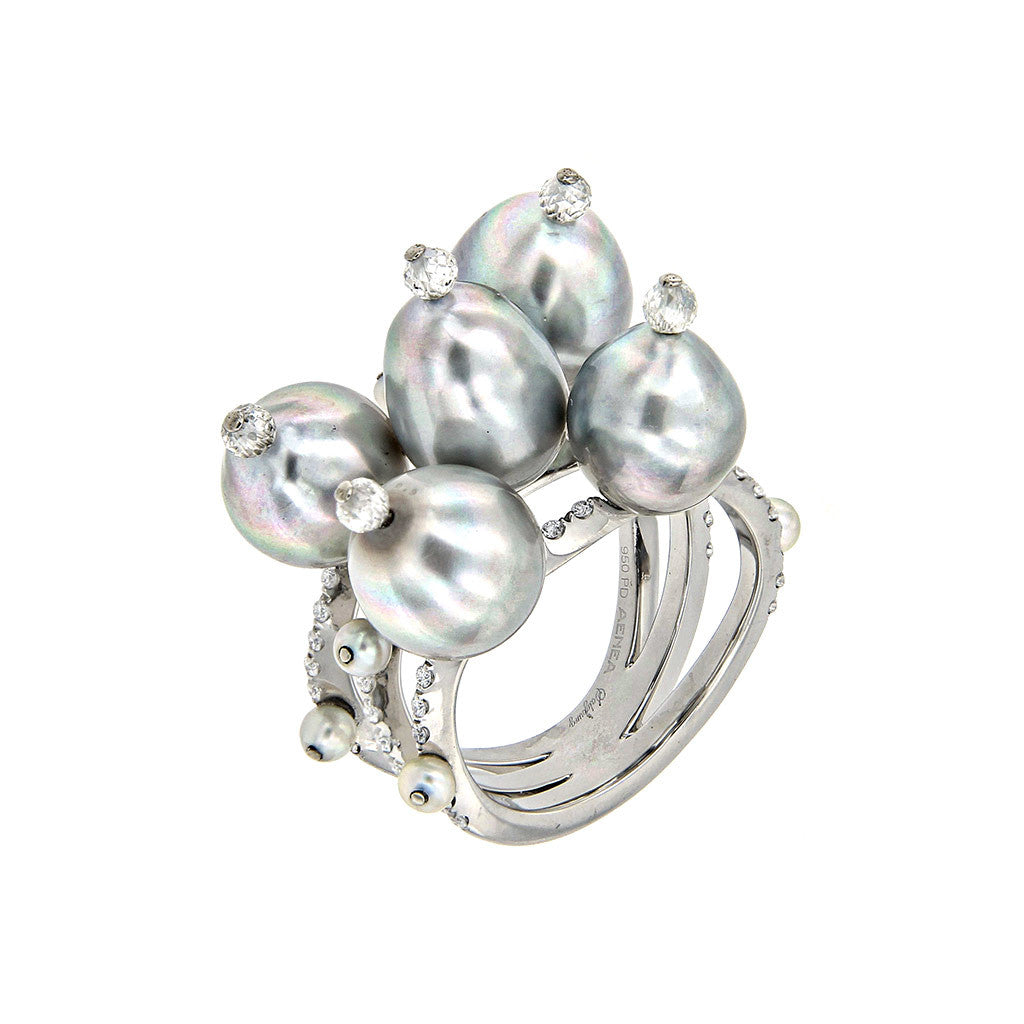 Ring Tahiti Pearls with White Diamonds