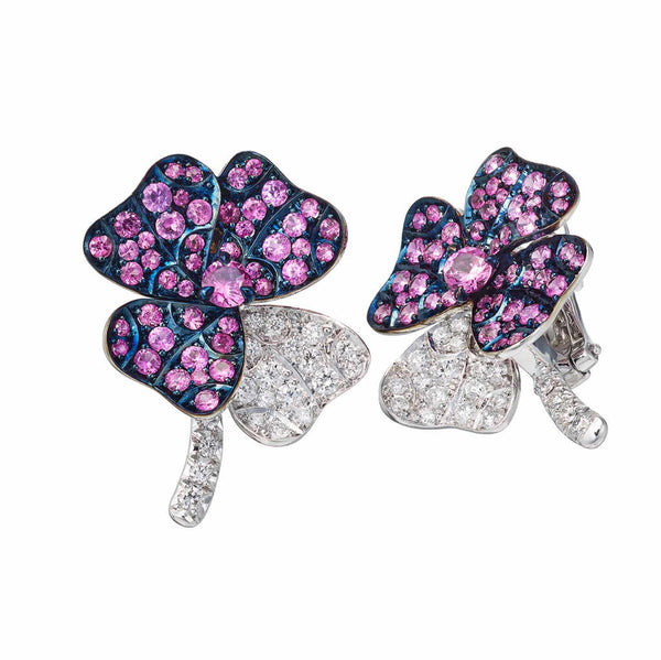 AENEA QUADRIFOGLIO Collection Earrings White Gold, Palladium with Pink Sapphires and White Diamonds